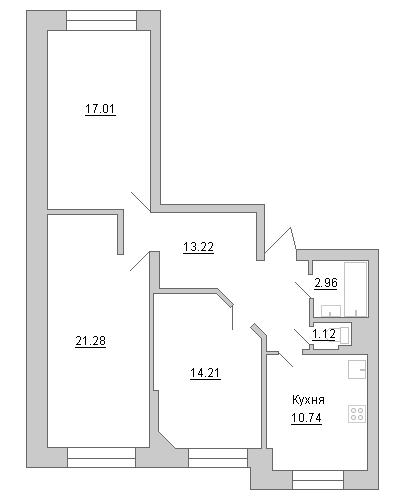 Планировка Трёхкомнатная квартира площадью 80.54 кв.м в ЖК «Маршал»