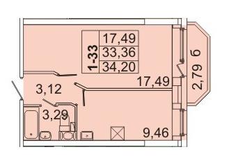 Планировка Однокомнатная квартира площадью 34.2 кв.м в ЖК «Маршал»
