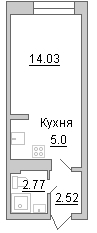 Планировка Студия площадью 24.32 кв.м в ЖК «Маршал»