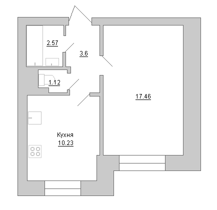 Планировка Однокомнатная квартира площадью 34.98 кв.м в ЖК «Маршал»