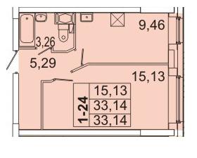 Планировка Однокомнатная квартира площадью 33.14 кв.м в ЖК «Маршал»