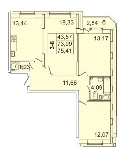 Планировка Трёхкомнатная квартира площадью 75.41 кв.м в ЖК «Маршал»