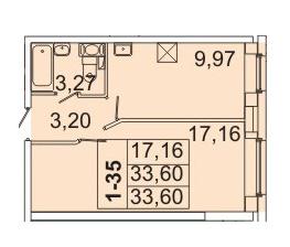 Планировка Однокомнатная квартира площадью 33.6 кв.м в ЖК «Маршал»