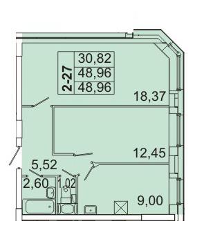 Планировка Двухкомнатная квартира площадью 48.96 кв.м в ЖК «Маршал»