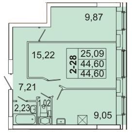 Планировка Двухкомнатная квартира площадью 44.45 кв.м в ЖК «Маршал»