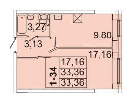 Планировка Однокомнатная квартира площадью 33.36 кв.м в ЖК «Маршал»