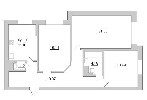 Планировка Трёхкомнатная квартира площадью 86.95 кв.м в ЖК «Маршал»