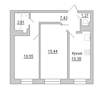 Планировка Двухкомнатная квартира площадью 47.68 кв.м в ЖК «Маршал»