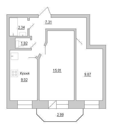 Планировка Двухкомнатная квартира площадью 45.35 кв.м в ЖК «Маршал»